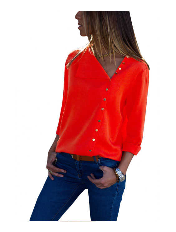 Red Rurn Down Collar Button Down Blouse/72987610